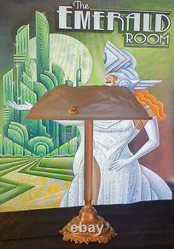 Art Deco Lamp Art New Molded Glass Muller Frères Lunaville Bronze Or Brass
