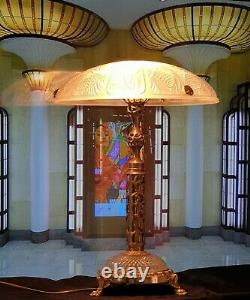 Art Deco Lamp Art New Molded Glass (bronze Or Brass)