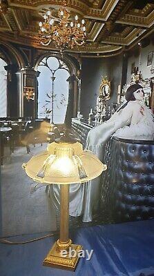 Art Deco Lamp Art Nouveau Glass Cast Bronze Or Laiton