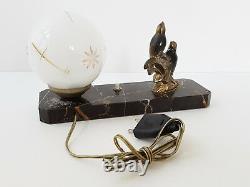 Art Deco Lamp Aux Moins Marble Bronze & Glass 1920 1930 Vintage 20s 30s