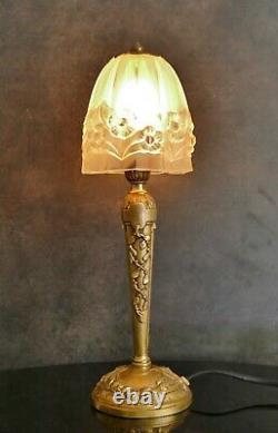 Art Deco Lamp Bronze Tulip Pressed Glass Molded Era Degué Muller