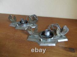 Art Deco Lamps At Bronze Birds Rare Pair For Muller Degue Glassware