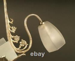 Art Deco Lustre In Bronze Old Silver And Frosted Glass