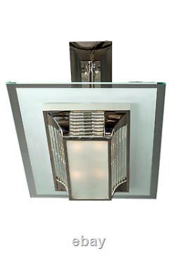 Art Deco Lustre Modernist Petitot Bronze Nickelé Glass Sablé 1938