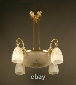 Art Deco Lustre Of The 1920s In Bronze, Laiton And Frosted Glass