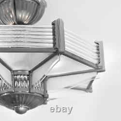 Art Deco Modernist Lustre Octogonal Petitot Bronze Nickelé And Sanded Glass