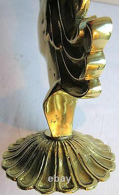 Art Deco Sculpture, Bronze Gilded Solid Woman Bust On Stand, Bookend