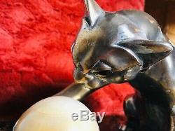 Art Deco. Superbe Nightlight Cat Sculptor Bourcart 1930