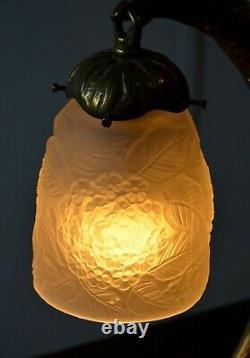 Art Deco Table Lamp New Bronze Eagle Tulip Glass Paste XX