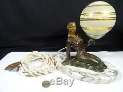 Art Deco Woman Lamp Regulates Patina Bronze