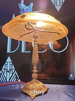 Art Nouveau Art Deco Bronze Lamp Or Laiton Moulded Glass