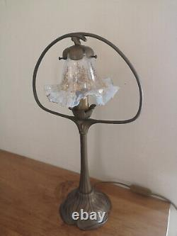 Art Nouveau Bronze Style Lamp. Golden Opalescent Crystal Tulip With Fine Gold