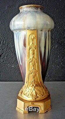 Art Nouveau-art Deco-vase Signed Louchet Ceramic And Gilded Bronze-top Quality