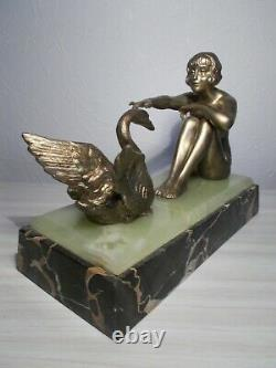 Art Sculpture Deco 1930 To Swan Statuette Woman Naked Bronze Color
