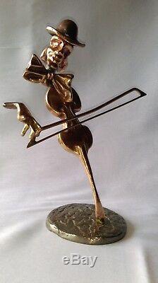 Bassist Bronze Sculpture Yves Lohe (1947) Signed