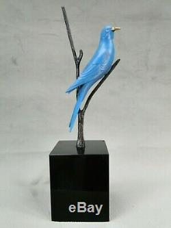 Beautiful Bronze Sculpture Wildlife Art Deco Blue Bird By Irenee Rochard