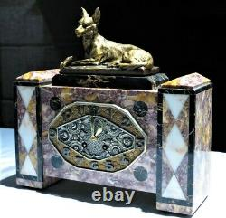 Beautiful Fireplace Garnish Art Deco Marble Bronze Pendulum Set Clock