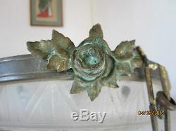 Beautiful Glass Vessel Mold Art Deco Signed Muller Brothers With Bronze Mount