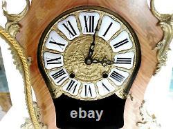 Beautiful Large Cartel Wood Rose Bronze Pendulum Clock Mid-20th Century