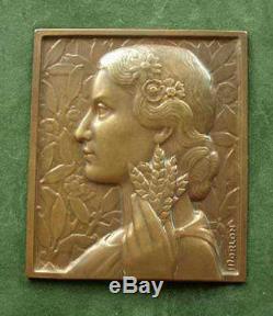 Beautiful Medal Sculpture Low Relief Bronze Woman Art Deco Sign Morlon