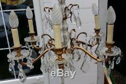 Beautiful Old Chandelier 6 Lights Bronze And Pendants
