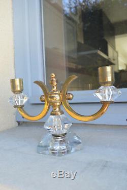Beautiful Pair Of Candlesticks Candlesticks Bronze And Crystal Art Deco Era Leleu