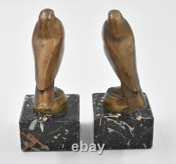 Birds Pair Of Greenhouse Book Art Deco Bronze By G. H. Lawrence Pigeons
