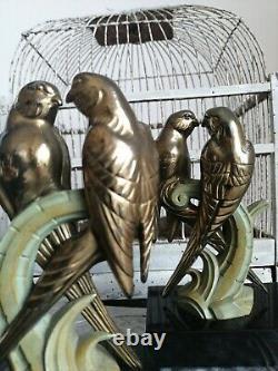 Bronze Art Deco 1930 Elegant Pair Of Couples Of Parakeets Greenhouse Books