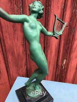 Bronze Art Deco Sign Fayral 1930 Naked Woman In La Harpe