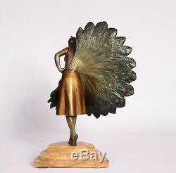 Bronze Art Deco Woman Fan 1930