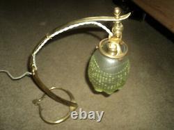 Bronze Arts Lamp - Crafts Benson Tulip Vaseline Pate De Verre Art Deco 1900