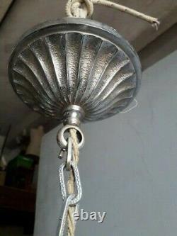 Bronze Bronze Chandelier Bronze Ep 1930 Art Deco Sanded Glass