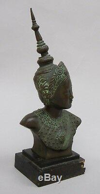 Bronze Bust Cambodian Dancer Indochina Vietnam Asia Cambodia Art Deco