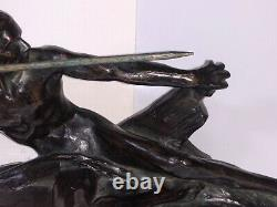 Bronze Javelin Thrower Old Art Deco Cast Signed Max Leverrier