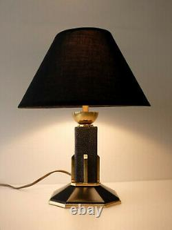 Bronze Laiton Art Deco Lamp - Galuchat Stamp Ag Iribe Rousseau Adnet