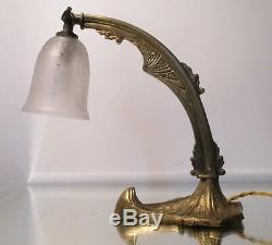 Bronze Lamp Orientable Art Deco 1930 Small Tulip Engraved With Acid Era Muller