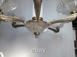 Bronze Luster And Glass Ep 1930 Art Deco Dlg Petitot