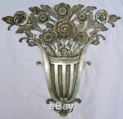 Bronze Ornamental Plaque 1925-1930 Art Deco Flower Basket