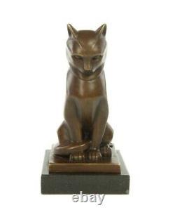 Bronze Statue Cat Sitting Art Deco Style 17 CM