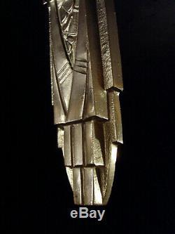 C. Jamain Wall Art Deco Bronze And Nickel Tulip Glass Pressed 1930