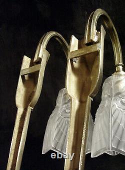 C. Ranc & Ejg Pair D Appliqués Art Deco Bronze & Tulips Glass Pressed 1930