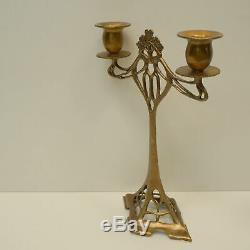 Candlestick Art Deco Style Art Nouveau Bronze Massive