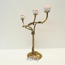 Candlestick Flowers Style Art Deco Art Nouveau Bronze Ceramic Massive Porcela