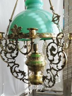 Ceiling Pendant Chandelier Bronze Dore Brass Copper Opaline Louis XV Style