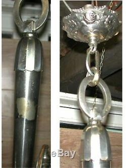 Chandelier 3 Lights Art Deco Bronze Nickel Paste Clear Glass & Enamel Acid Nancea