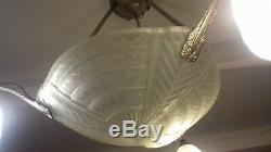 Chandelier Art Deco Lamp 1930 Tulip Bowl Noverdy Muller Degue Maynadier Daum