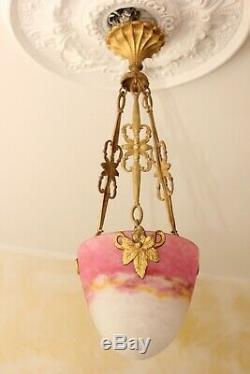 Chandelier Art Deco Pendant Lamp Bronze Pate De Verre Muller