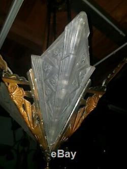 Chandelier Chandelier Art Deco Glass Paste Bronze Hanots J. Robert Muller Degue