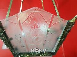 Chandelier Chandelier Plates Art Deco Glass Mold And Bronze Tulip Hanots