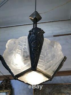 Chandelier Degué 4 Plates + 1 Background Mount Bronze Art Deco Candlestick